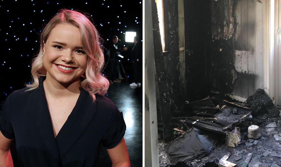 BEGYNTE Å BRENNE: Da huset til foreldrene til artist og danser Lisa Børud begynte å brenne kom morfaren til unnsetning. Foto: NTB Scanpix / Privat