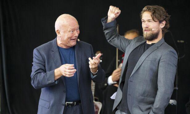 KOLLEGER IGJEN: Nils Ole Oftebro og Jakob skal spille sammen i «Peer Gynt» på Gålå i sommer. Her er de avbildet på Gålå i fjor. Foto: Andreas Fadum/ Se og Hør