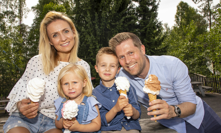FAMILIEKOS: Nadya Khamitskaya nyter livet sammen med barna Evie og Léon, og ektemannen Mads. Han skal snart begynne i ny jobb som direktør for video i Aller Media - som også gir ut Se og Hør. Foto: Tor Lindseth / Se og Hør