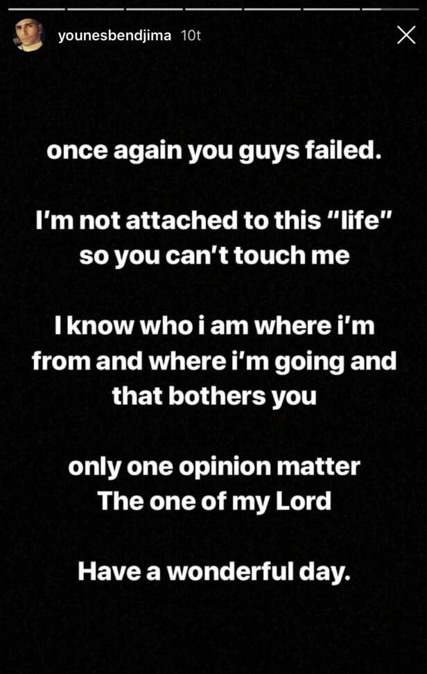 HAMRET LØS: Younes Bendjima hamret løs med bilder og lengre tekster etter at bruddet mellom Kourtney Kardashian og han ble avslørt. Foto: Skjermdump, Instagram