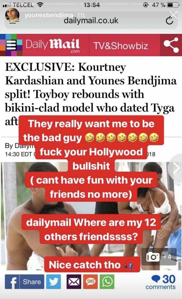 IRRITERT: Younes Bendjima mener de utenlandske tabliodene har fremstilt bildene av ham og Jordan Ozuna feil. Foto: Skjermdump, Instagram
