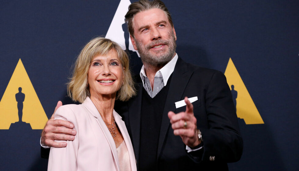 «WE GO TOGETHER»: Olivia Newton-John (69) og John Travolta (64) kom sammen til gjenforeningsfesten. Foto: Reuters / NTB Scanpix