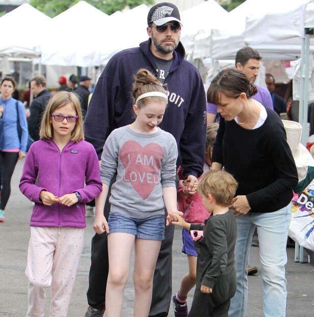 SKILT: Til tross for skilsmissen har Ben Affleck og Jennifer Garner tilbragt mye tid sammen og med barna. Foto: NTB Scanpix / Broadimage Newswire