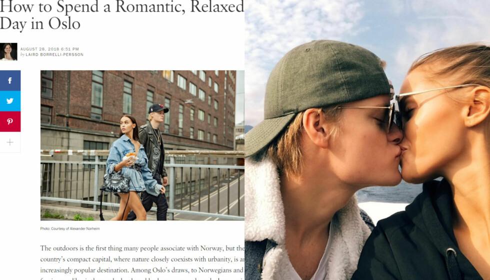 HYLLER NORGE: Juliane Snekkestad og Marius Borg Høiby avslører de stedene i Oslo som paret mener er verdt å besøke. Foto: Faksimile Vogue / Instagram