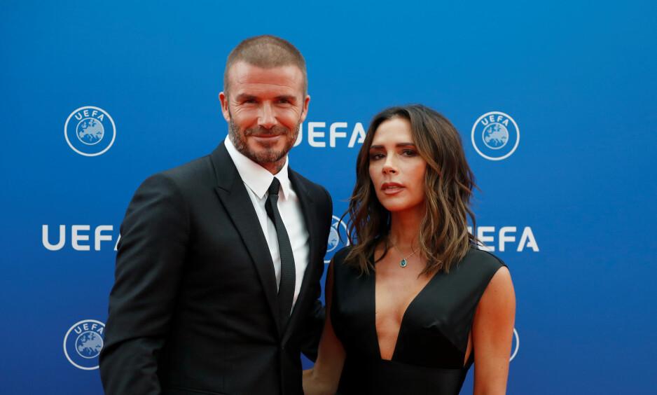 PÅ RØD LØPER: David og Victoria Beckham poserte på den røde løperen i Monaco torsdag. Foto: NTB Scanpix