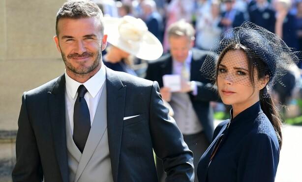 BRYLLUPSGJESTER: David og Victoria var begge til stede da hetuginne Meghan og prins Harry giftet seg i mai. Foto: NTB Scanpix