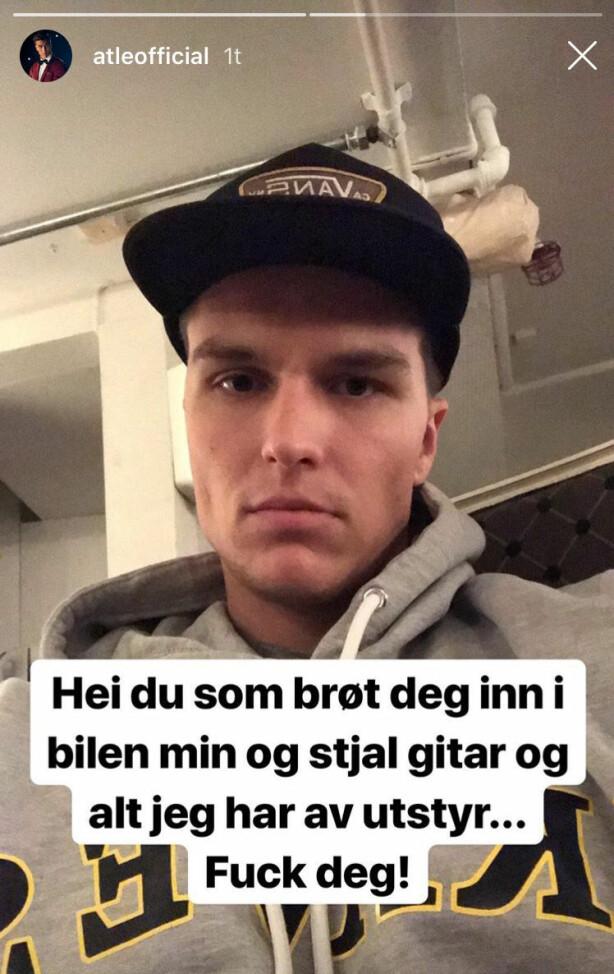 <strong>RANET:</strong> Atle Pettersen oppdaget i morges at noen hadde brutt seg inn i bilen hans. Foto: Skjermdump / Instagram