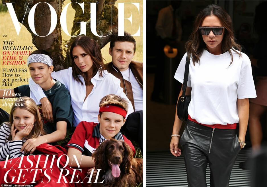 <strong>UTEN DAVID:</strong> Den nye forsiden på Vogue får flere til undre over hvor David Beckham er, når hele familien poserer uten ham. Foto: Faksimile, Vogue / NTB Scanpix