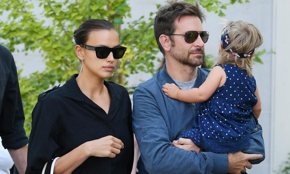 FAMILIELYKKE: Modellen Irina Shayk og filmstjernen Bradley Cooper ble foreldre for første gang for halvannet år siden, da datteren Lea kom til verden. Foto: NTB scanpix