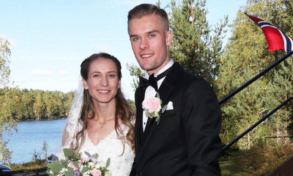 NÅ ER DE GIFT: Lørdag fikk friidrettsstjernen Filip Ingebrigtsen sin Astrid. Foto: Andreas Fadum