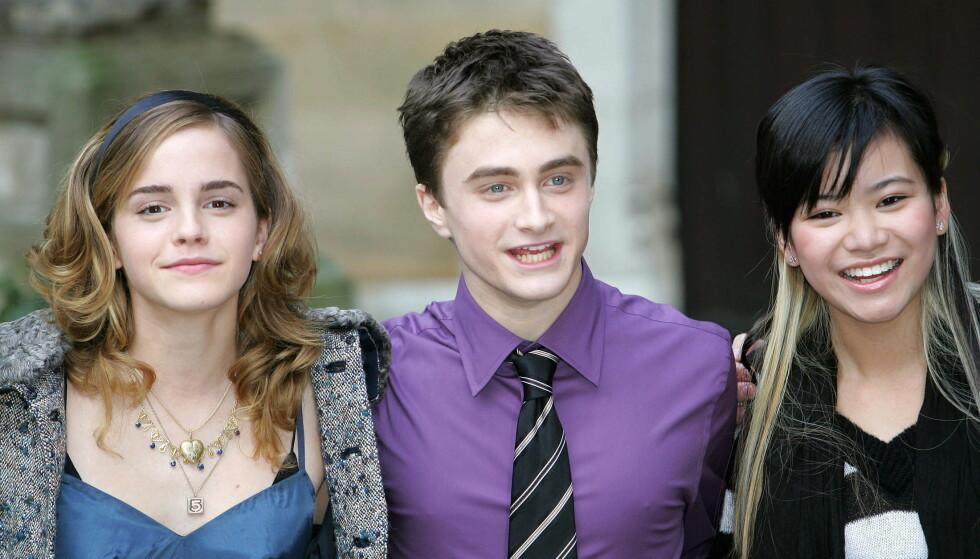 SPILLER CHO CHANG: Skuespiller Katie Leung (t.h.) spilte rollen som Cho Chang i Harry Potter-filmene. Her med to av hovedrolleinnehaverne, Emma Watson og Daniel Radcliffe, i 2005. Foto: Reuters/ NTB scanpix