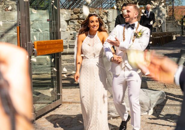 NYGIFTE: 19.mai var datoen Jamina og Stian ga hverandre sitt ja, her avbildet like etter vielsen. Foto: Tor Lindseth / Se og Hør