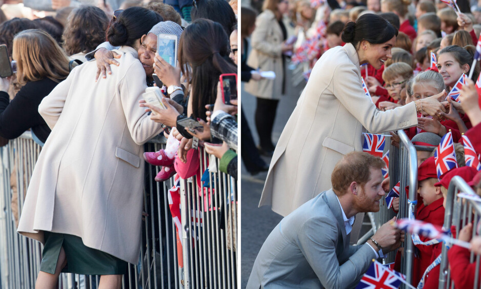 HILSTE PÅ: Hertuginne Meghan og prins Harry tok seg god tid med folket da de besøkte den engelske byen Sussex. Foto: NTB scanpix