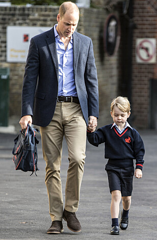 <strong>FAST ANTREKK:</strong> Prins George ble fulgt av prins William på første skoledag., Helen Haslem. Foto: Pa Photos