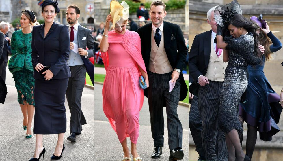 MYE VIND: Bryllupsgjestene til prinsesse Eugenie og Jack Brooksbank måtte kjempe mot vinden da de ankom kapellet i Windsor. I midten ser man kjendisdatter Pixie Geldof, flankert av Liv Tyler og Naomi Campbell. Foto: NTB scanpix