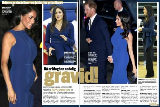 GRAVIDRYKTENE SVIRRET: Tidligere i høst meldte en rekke medier at hertuginne Meghan allerede var gravid - også Se og Hør. Foto: Faksimile fra Se og Hør