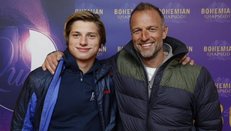 <strong>FAR OG SØNN:</strong> «71 grader nord»-programleder Tom Stiansen tok med sønnen på premieren tirsdag kveld. Foto: Espen Solli / Se og Hør