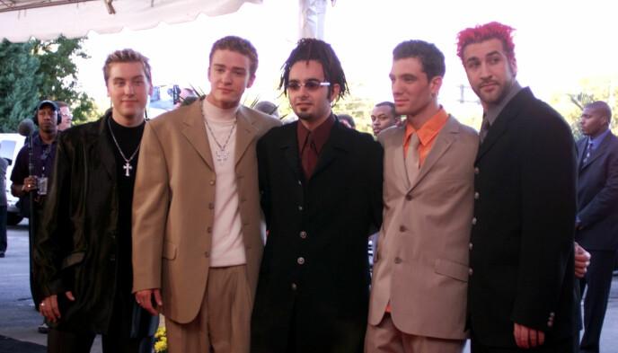 BOYBAND: Popgruppen «'N Sync» ble svært populære på slutten av 1990-tallet. Her er Bass (t.v.) avbildet sammen Justin Timberlake, Chris Kirkpatrick, J.C. Chasez and Joey Fatone. Foto: Michael S. Green / AP Photo / Michael S. Green / NTB