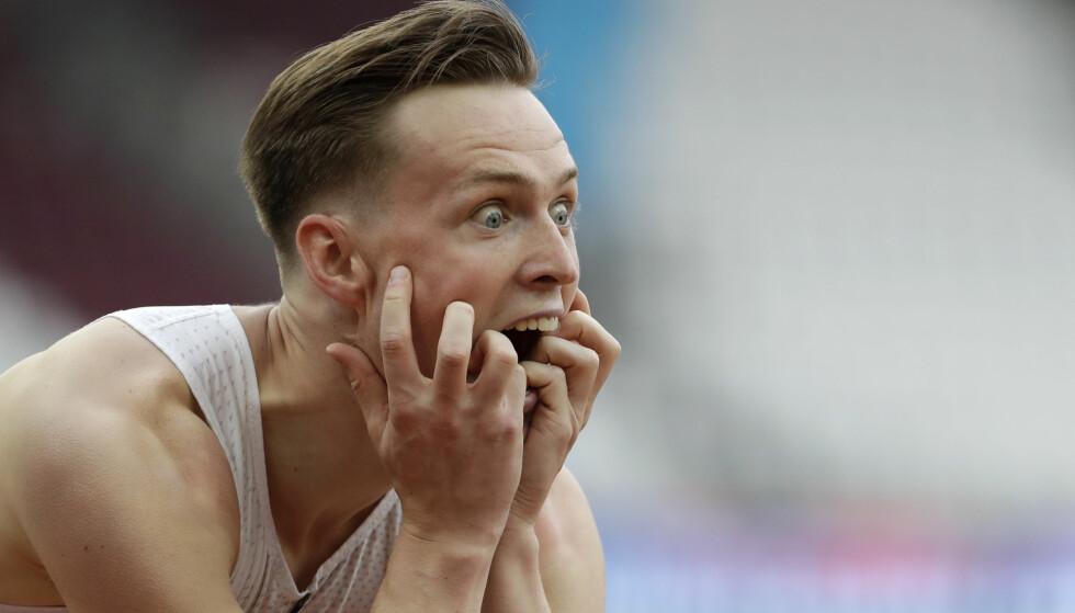 <strong>HISTORISK:</strong> Karsten har fått mye oppmerksomhet for dette uttrykket. Bildet er tatt da 22-åringen vant VM-gull på 400 meter hekk under VM i friidrett i London. Foto: NTB Scanpix
