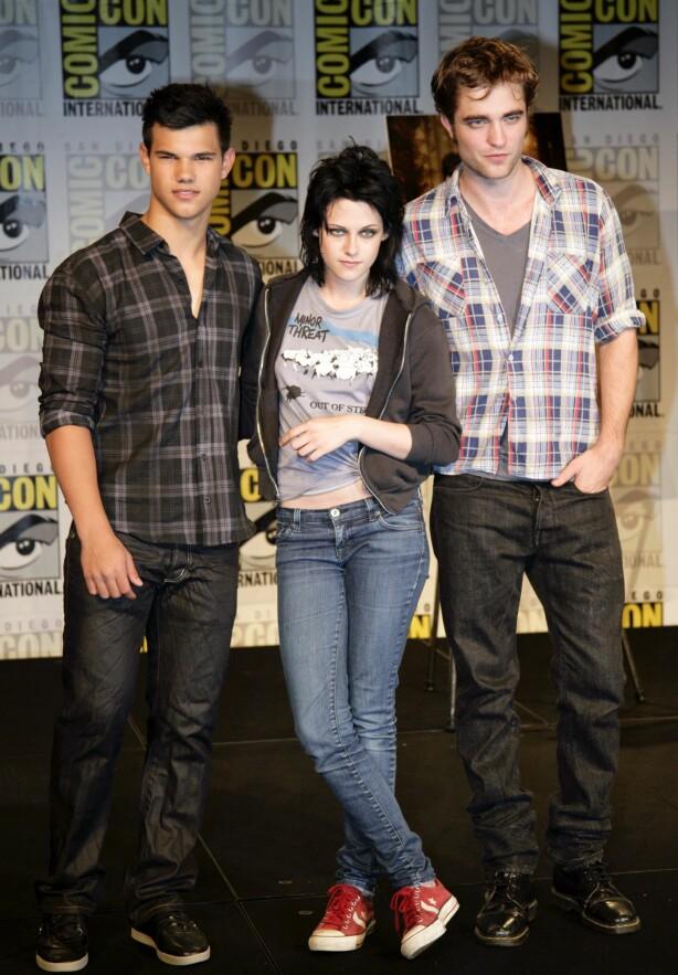 GJENGEN: Robert Pattinson, Kristen Stewart og Taylor Lautner var en suksessrik trio, men i dag er det bare to av dem som fortsatt hører hjemme på A-lista. Foto: NTB scanpix