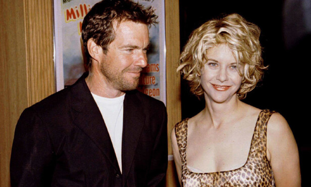 BERØMT DUO: Dennis Quaid og Meg Ryan var et av 90-tallets hotteste par. Her er de sammen på et arrangement sommeren 1996. Foto: NTB Scanpix