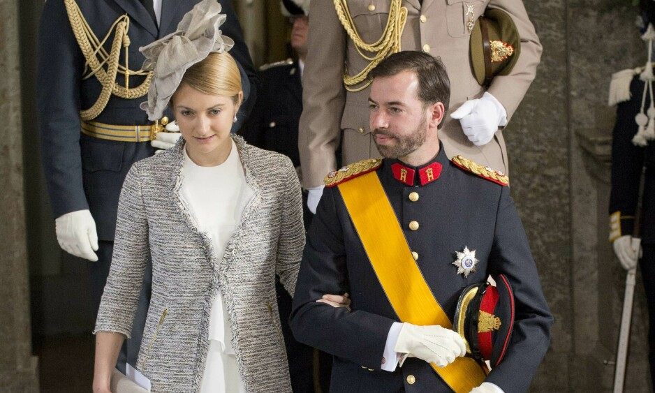 OPPLEVER PRESS: Kronprinsesse Stephanie av Luxembourg skal ta det tungt at hun og ektemannen ikke har fått barn ennå. Her er paret avbildet i mai 2012, noen måneder før de giftet seg. Foto: AFP/ NTB scanpix
