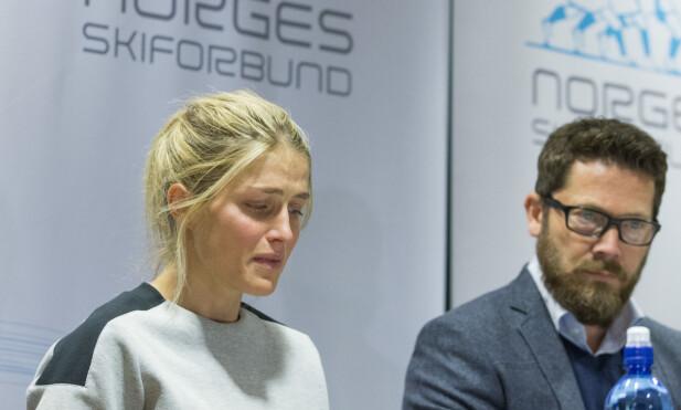 2016: Therese Johaug viste følelser under pressemøtet sammen med Norges Skiforbund, der hun forklarte årsaken til positiv dopingtest. Foto: Håkon Mosvold Larsen / NTB scanpix