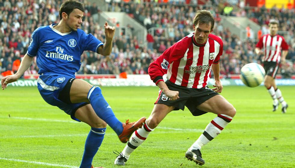 <strong>ENGLAND-PROFF:</strong> Lundekvam spilte i mange år for Southampton. Her er han i duell med Chelseas Mateja Kezman. Foto: NTB Scanpix
