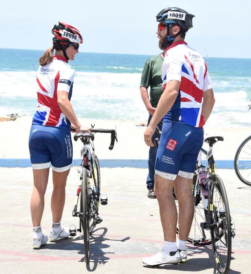 <strong>ENGASJERT:</strong> Pippa og broren James Middleton avbildet i California i 2014, før løpet Race Across America til inntekt for Michael Matthews Foundation. Foto: NTB scanpix