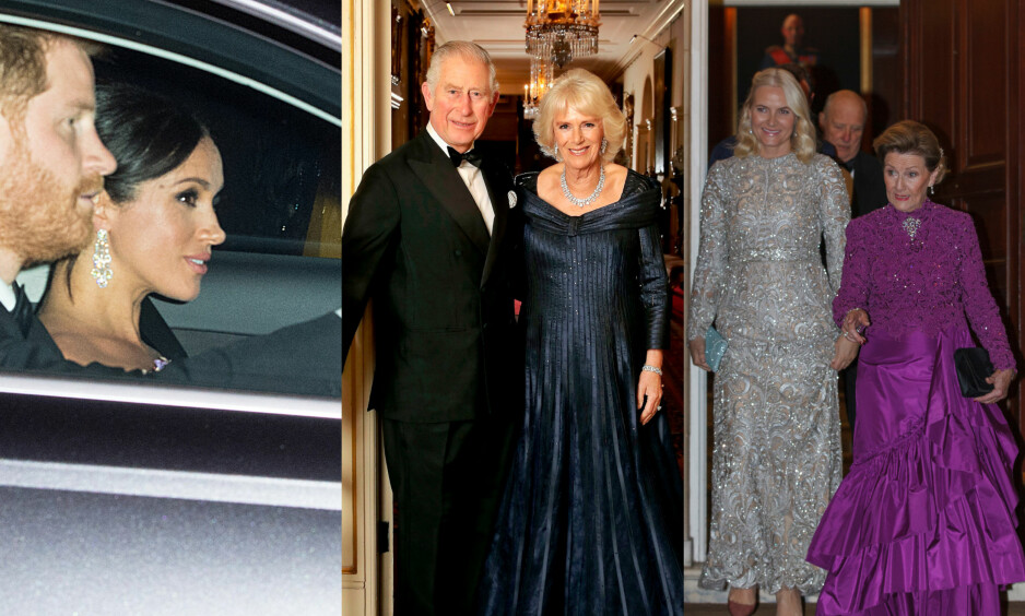 STRØMMET PÅ: Hertugparet av Sussex, jubilanten, hertuginne Camilla og det norske konge- og kronprinsparet var bare blant noen av gjestene som festet til ære for prins Charles i natt. Foto: NTB scanpix