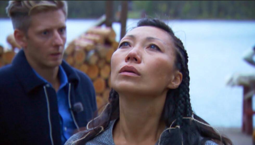 <strong>OPPLØST I TÅRER:</strong> Etter åtte uker er «Farmen»-oppholdet over for trønderen Irene Halle (35). Tv-exiten ble ingen udramatisk sekvens. Foto: TV 2