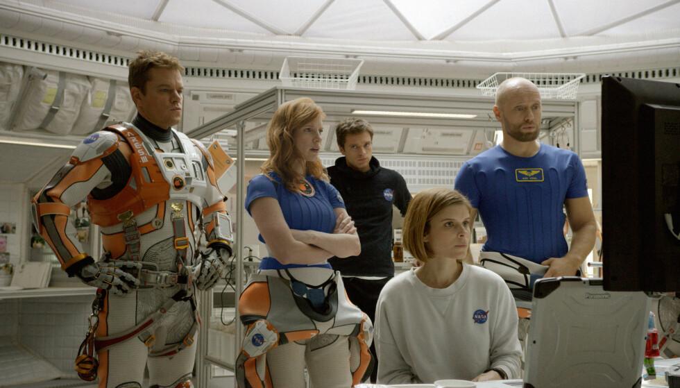 PÅ LERRETET: I «The Martian» spiller Jessica blant annet mot Aksel Hennie, Matt Damon og Kate Mara. Foto: 20th Century Fox / Filmweb