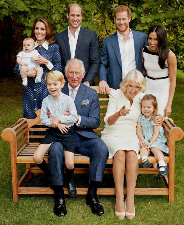 SMIL TIL KAMERA: Det er ingen tvil om at kongefamilien hygget seg under fotograferingen i forbindelse med prins Charles 70-årslag. Foto: NTB Scanpix