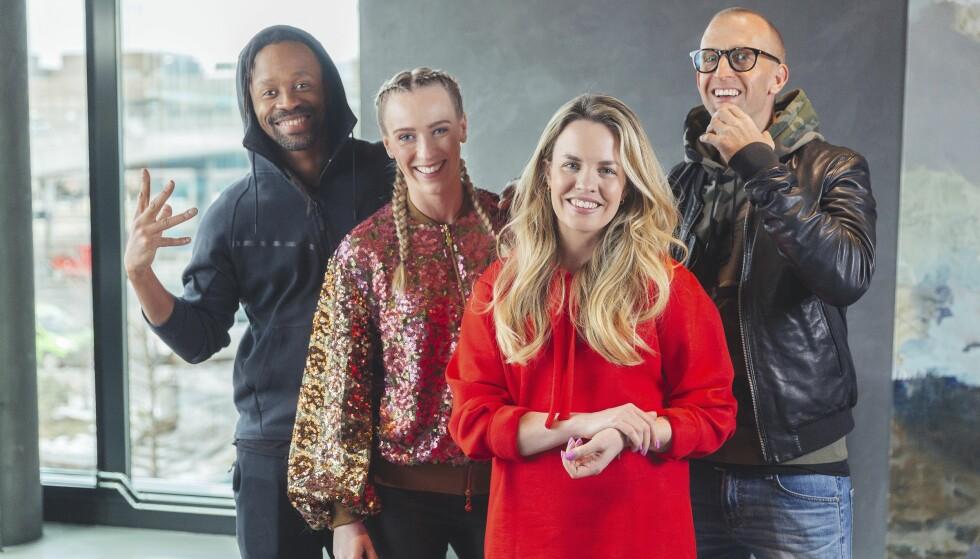SUKSESS: Årets «Idol» fenger TV-seerne. Katarina Flatland er programleder, mens Silje Larsen Borgan, Gunnar Greve og Tshawe Baqwa (ytterst t.v.) er dommere. Foto: TV 2