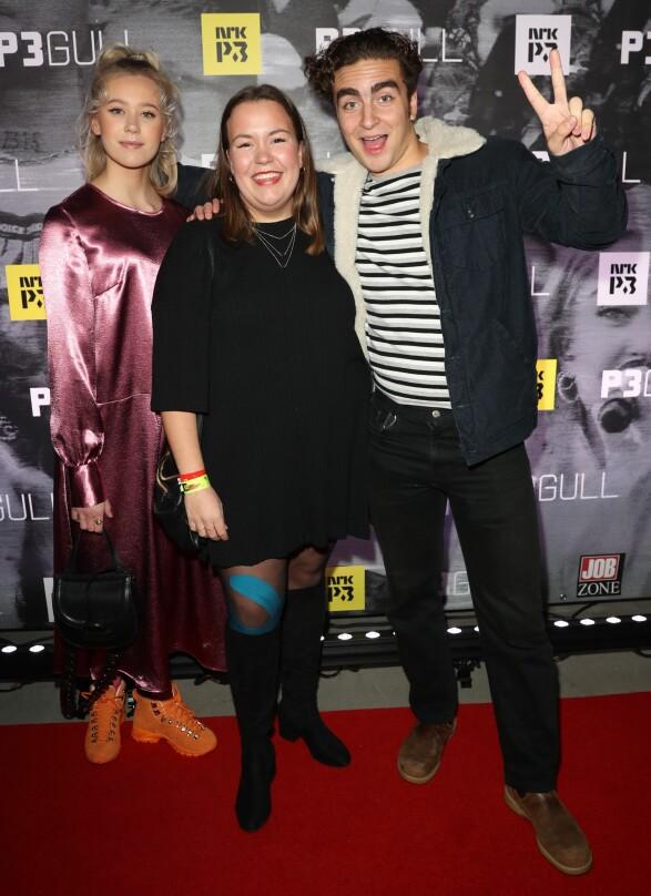 P3 GULL: SKAM-stjernene Josefine Frida Pettersen, Ida Svenningdal og Marlon Langeland. Foto: Andreas Fadum / Se og Hør