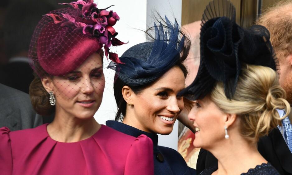ISFRONT: Ifølge flere utenlandske medier skal det være en anspent stemning mellom hertuginne Kate og heruginne Meghan. Foto: NTB Scanpix