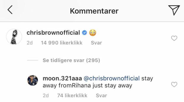MISFORNØYD: Flere fans har kommentert under Chris Browns kommentar, og ber han holde seg unna ekskjæresten. Foto: Skjermdump / Instagram