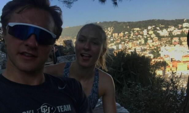 SPORTY SØSKEN: Petter og Henny fra Nice i fjor sommer. - Henny trente to timer styrke annenhver dag, og løp med meg innimellom, forteller Petter. Foto: Privat