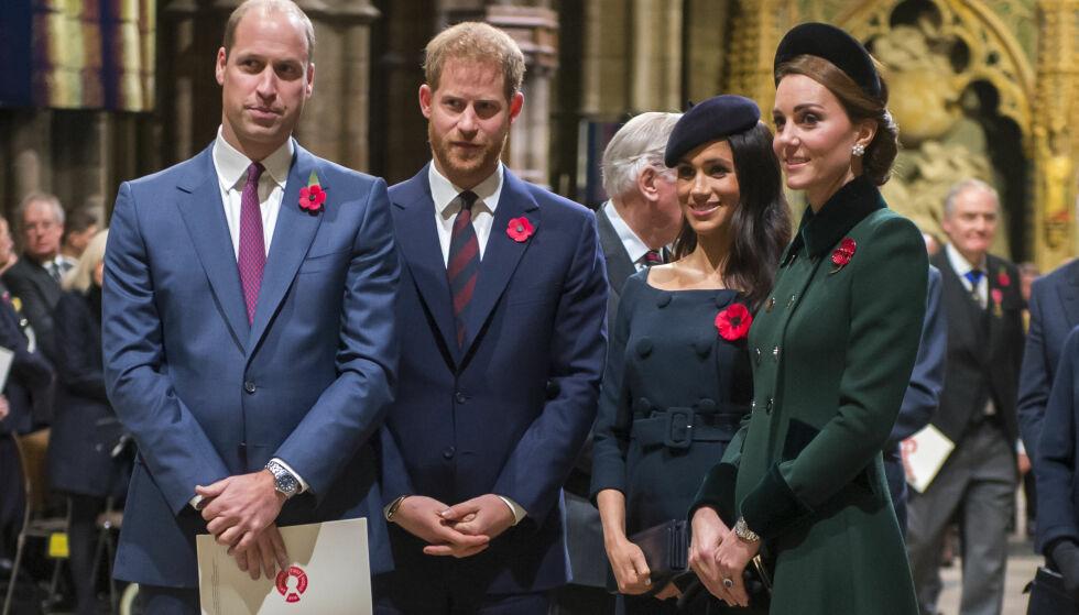 ISFRONT-RYKTER: Britisk presse har i lang tid hevdet at det er kjølig stemning mellom hertuginne Meghan og hertuginne Kate, som er gift med henholdsvis prins Harry og prins William. Foto: NTB scanpix