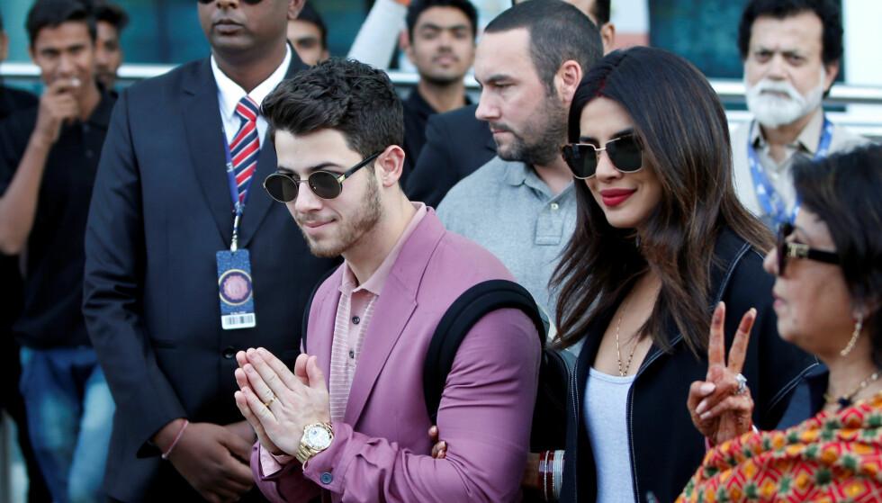 <strong>PÅ GJESTELISTEN:</strong> Nygifte Nick Jonas og Priyanka Chopra er blant bryllupsgjestene når datteren til Indias rikeste mann skal gifte seg onsdag. Foto: NTB Scanpix