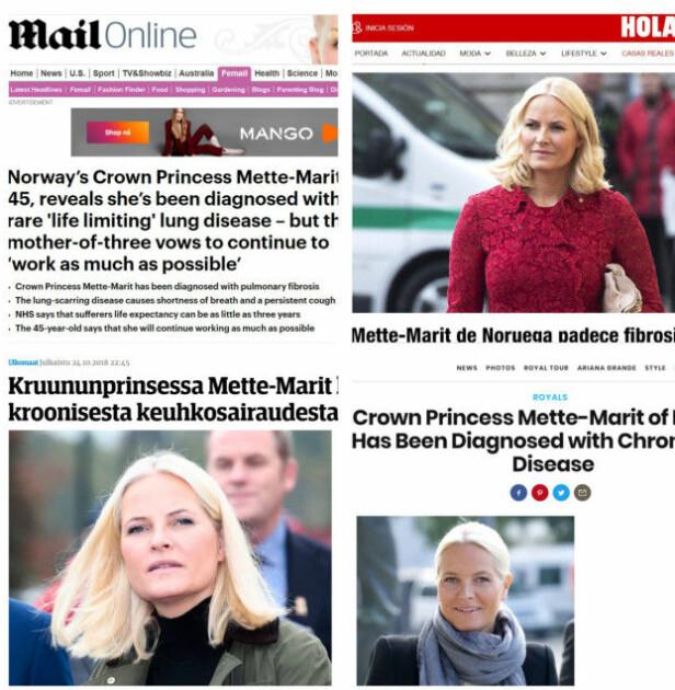 <strong>OVERSKRIFTER:</strong> Kort tid etter at Mette-Marit sto frem i den lengre nyhetssendingen på NRK, spredte også nyheten seg i land som Spania, Finland, England, Danmark, Tyskland og USA. Foto: NTB Scanpix