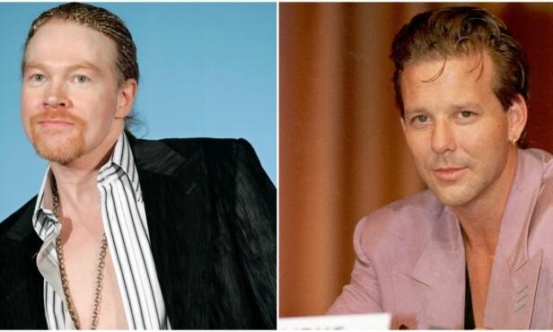 STOR FORSKJELL: Her er Axl Rose (f.v) avbildet i 2006 og Mickey Rourke i 1989. Foto: NTB Scanpix