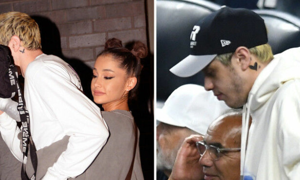 RASKT UTE: Pete Davidson tatoverte en kaninmaske på halsen da han ble sammen med Ariana Grande. Rett før bruddet var tatoveringen dekket over av et sort hjerte. Foto: NTB scanpix