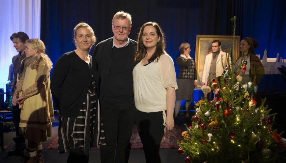 <strong>FAMILIE:</strong> Datteren til Klaus Hagerup, Hanne Hagerup, kom opp med ideen til julekalenderen. Med seg på laget fikk hun faren og søsteren Hilde. Foto: NTB Scanpix
