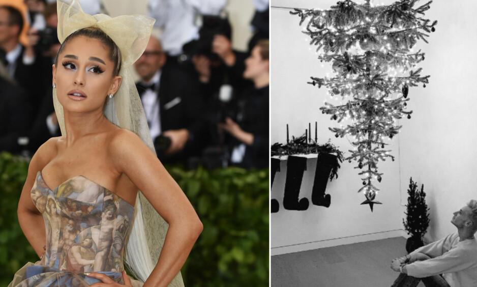 ANNERLEDES JULETRE: Superstjernen Ariana Grande har plassert årets juletre på en særdeles spesiell måte. Foto: NTB Scanpix / Skjermdump, Twitter