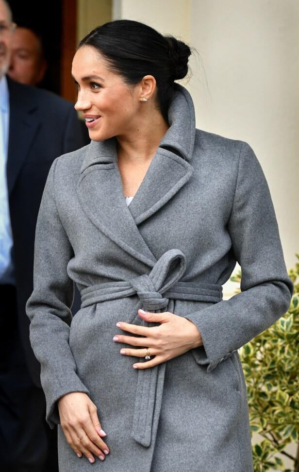 <strong>GRAVID:</strong> Hertuginne Meghan og prins Harry venter sitt første barn i mai. Foto: NTB Scanpix