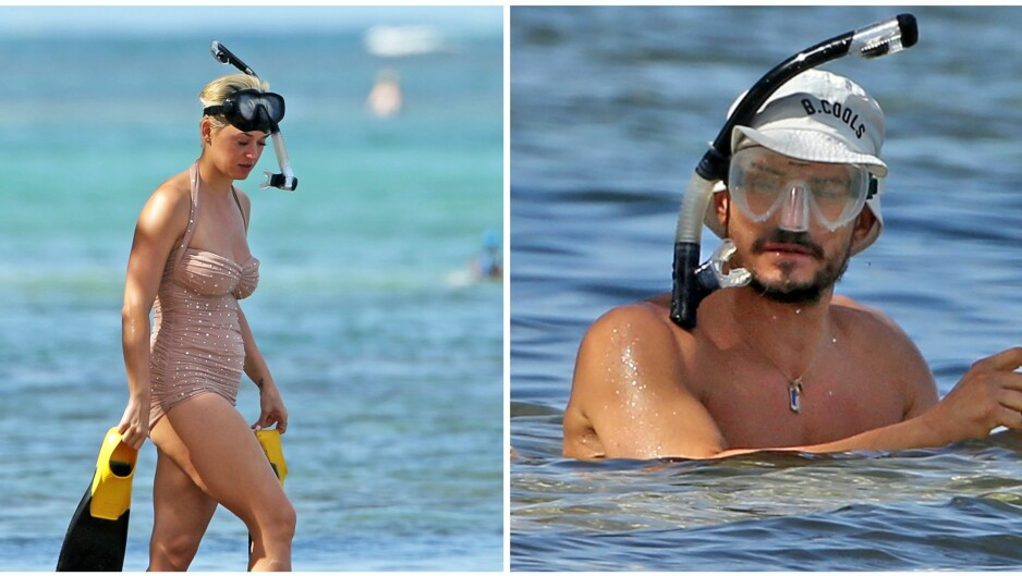 HETE FØLELSER: Katy Perry og Orlando Bloom kjølte seg ned med snorkling sammen i juleferien. Foto: NTB Scanpix