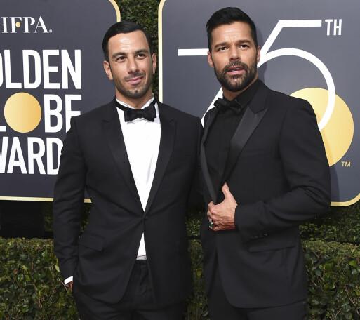 <strong>TREBARNSFORELDRE:</strong> Mandag kveld avslørte Ricky Martin at han og ektemannen Jwan Yosef har fått en liten datter sammen. Foto: NTB Scanpix