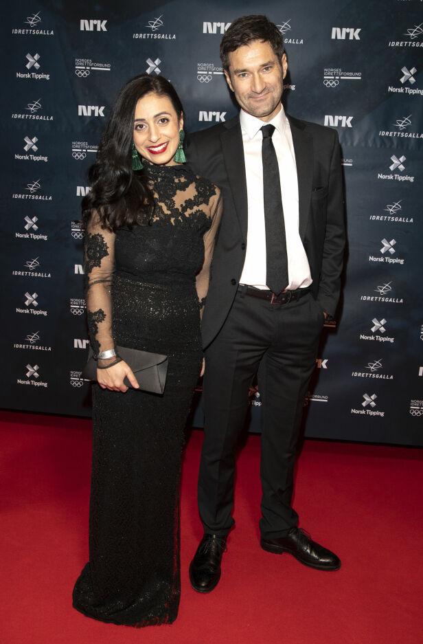 FØRSTE GANG: Hadia Tajik hadde med seg kjæresten Kristian Skard på rød løper. Foto: Andreas Fadum / Se og Hør