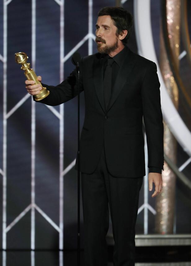 <strong>VAKTE OPPSIKT:</strong> Christian Bale vakte oppsikt med sin takketale der han blant annet takket satan. Foto: NTB Scanpix